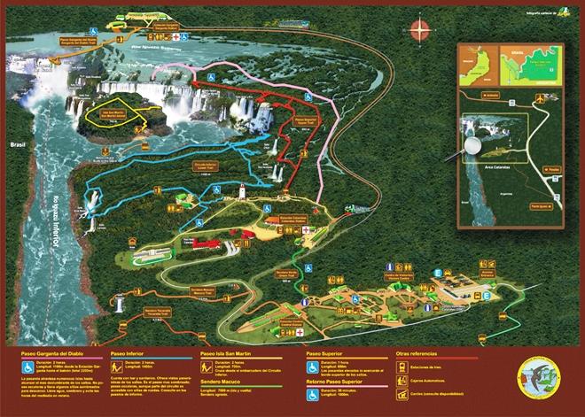 Le plan du parc national d'Iguazu en Argentine